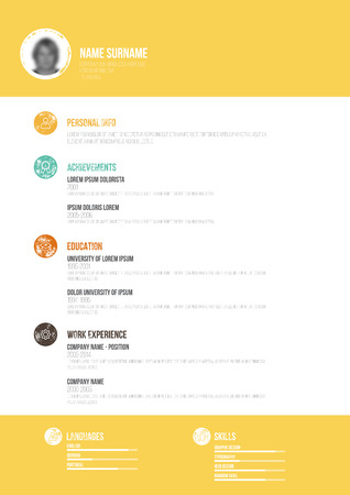 dominant: Retro Minimal CV - Vector Illustration -  Resume Template - Simple Design with Photo - Objects Icons Version - Dominant Yellow
