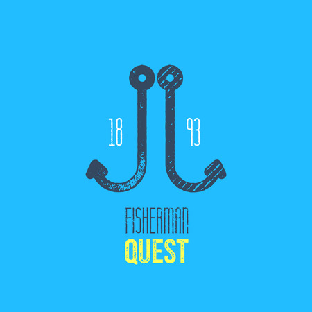 quest: Fisherman T-Shirt Design - Dark Blue Fishing Hook on Light Blue Background with Fiesherman Quest Sign and Era
