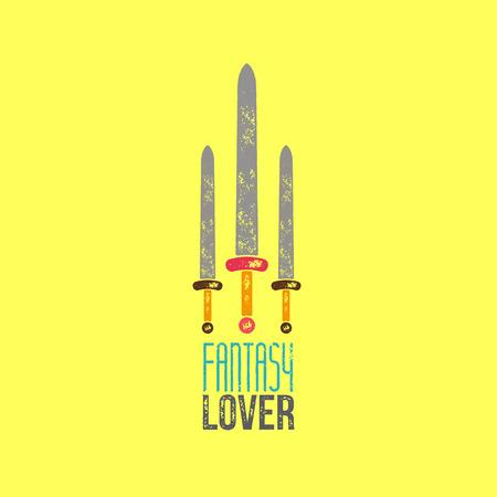 siluetas de enamorados: Fantasía Amante T-Shirt Design - Ilustración vectorial - Tres espadas en fondo amarillo con la fantasía del amante de sesión Vectores