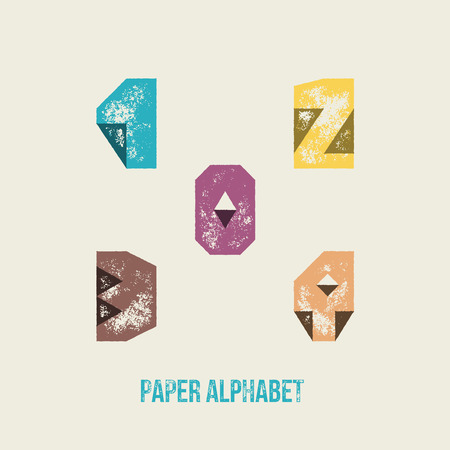 2 0: 0 1 2 3 4 - Grunge Retro Paper Type Alphabet - Capital caption letters from folded transparent paper - Typography and infographic resource Illustration