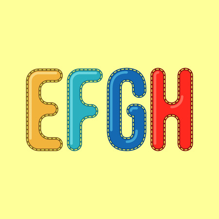 headings: E F G H - Candy Colorful Editable Vector Alphabet - Simple capital type can be used for infography, webdesign or any other design - Suitable for titles and headings