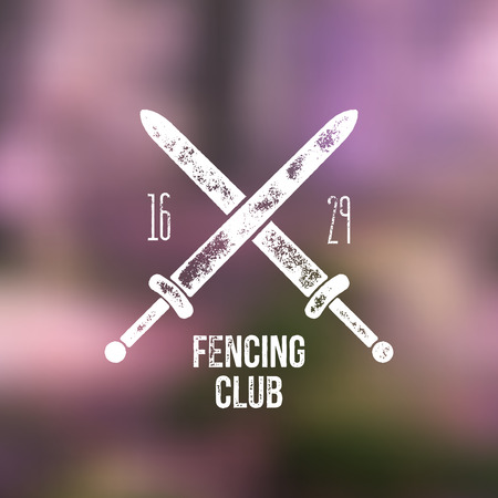 era: Fencing club t -shirt  design - vector illustration - crossed swords on blurred background with fencing club sign and era