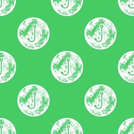 fishing hook: White Fishing Hook Pattern on Green Background - Grunge Retro Seamless Pattern Background - Vector Illustration Illustration