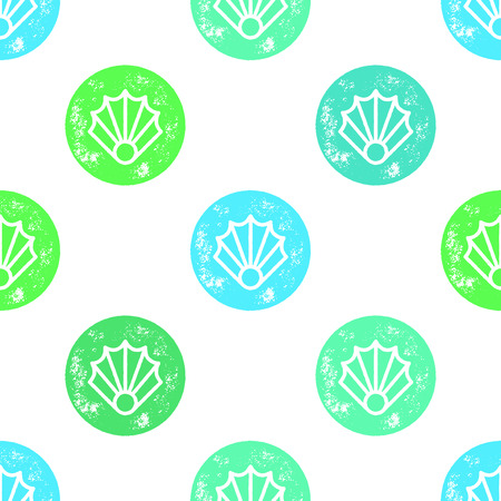 shell pattern: Green and Blue Sea Shell Pattern on White Background - Grunge Retro Seamless Pattern Background - Vector Illustration