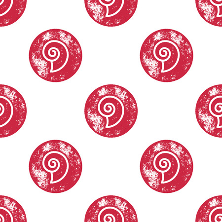 shell pattern: Red Sea Shell Pattern on White Background - Grunge Retro Seamless Pattern Background - Vector Illustration Illustration