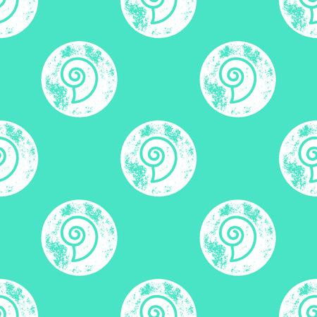shell pattern: White Sea Shell Pattern on Green Background - Grunge Retro Seamless Pattern Background - Vector Illustration