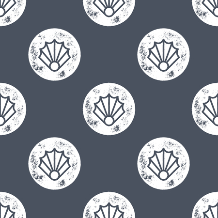 shell pattern: White Sea Shell Pattern on Blue Background - Grunge Retro Seamless Pattern Background - Vector Illustration