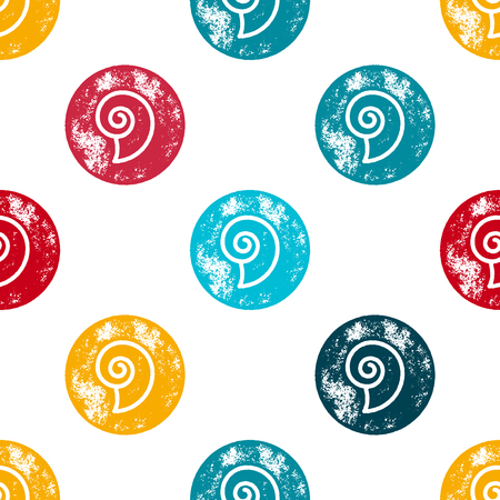 shell pattern: Orange, Blue and Red Sea Shell Pattern on White Background - Grunge Retro Seamless Pattern Background - Vector Illustration
