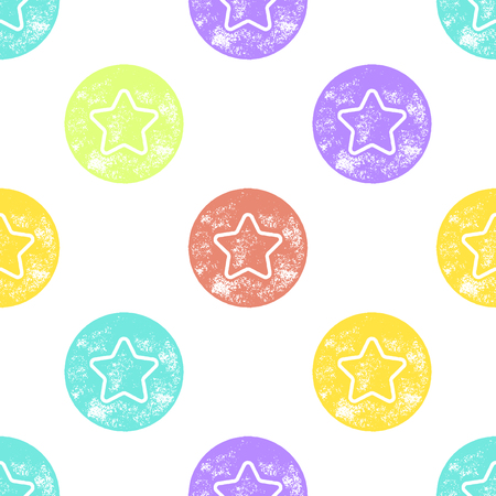 star pattern: Red, Yellow, Purple and Blue Sea Star Pattern on White Background - Grunge Retro Seamless Pattern Background - Vector Illustration