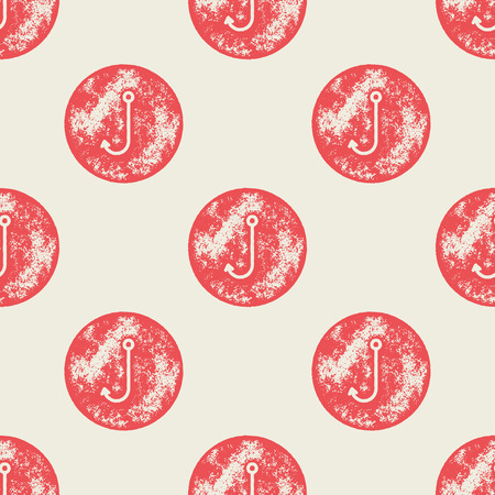 fishing hook: Red Fishing Hook Pattern on Red Background - Grunge Retro Seamless Pattern Background - Vector Illustration