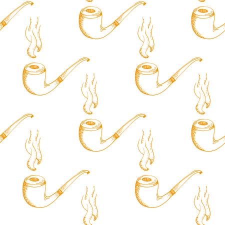 englishman: Orange Smoking Pipe Outline Stroke Pattern on White Background - Hand Drawn Doodle Seamless Surface Pattern Design - Vector Illustration
