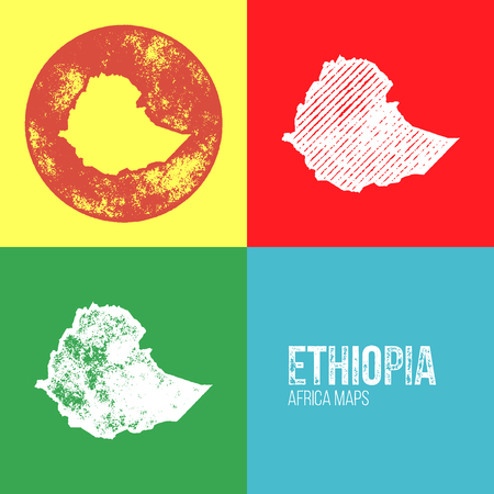 ethiopia abstract: Ethiopia Grunge Retro Maps - Africa - Three silhouettes Ethiopia maps with different unique letterpress vector textures - Infographic and geography resource Illustration