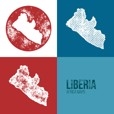 liberia: Liberia Grunge Retro Maps - Africa - Three silhouettes Liberia maps with different unique letterpress vector textures - Infographic and geography resource Illustration