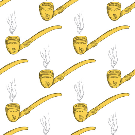 Yellow Smoking Pipe Pattern on White Background - Hand Drawn Doodle Seamless Surface Pattern Design - Vector Illustration