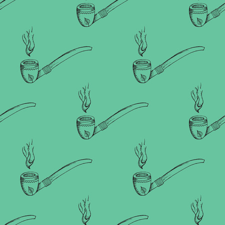 balck: Balck Smoking Pipe Outline Stroke Pattern on Green Background - Hand Drawn Doodle Seamless Surface Pattern Design - Vector Illustration