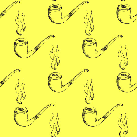 englishman: Black Smoking Pipe Outline Stroke Pattern on Yellow Background - Hand Drawn Doodle Seamless Surface Pattern Design - Vector Illustration