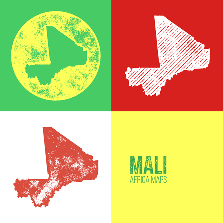 mali: Mali Grunge Retro Maps - Africa - Three silhouettes Mali maps with different unique letterpress vector textures - Infographic and geography resource Illustration