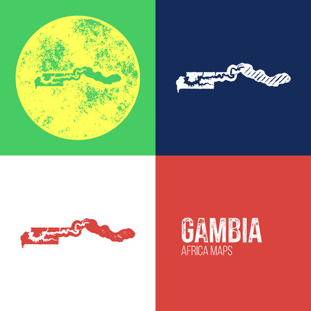 gambia: Gambia Grunge Retro Maps - Africa - Three silhouettes Gambia maps with different unique letterpress vector textures - Infographic and geography resource