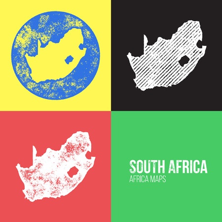 South Africa Grunge Retro Maps - Africa - Three silhouettes South Africa maps with different unique letterpress vector textures - Infographic and geography resource