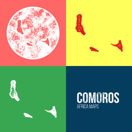 comoros: Comoros Grunge Retro Maps - Africa - Three silhouettes Comoros maps with different unique letterpress vector textures - Infographic and geography resource