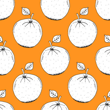 orange pattern: Hand Drawn Paper Cut Orange Pattern on Orange Background - Hand Drawn Seamless Fruits Pattern - Infographic or Surface Design Source Element - Vector Illustration Illustration