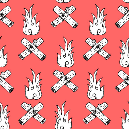 fireplace: Hand Drawn Camp Fire Paper Cut Illustration Pattern on Red Background - Camping and Outdoor or Mountain Adventure Doodle Color Pattern - Hand Drawn Vector Illustration Illustration