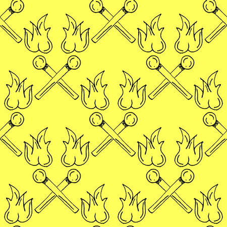 yellow adventure: Hand Drawn Matches Paper Outline Stroke Cut Illustration Pattern on Yellow Background - Camping and Outdoor or Mountain Adventure Doodle Color Seamless Pattern - Hand Drawn Vector Illustration Illustration
