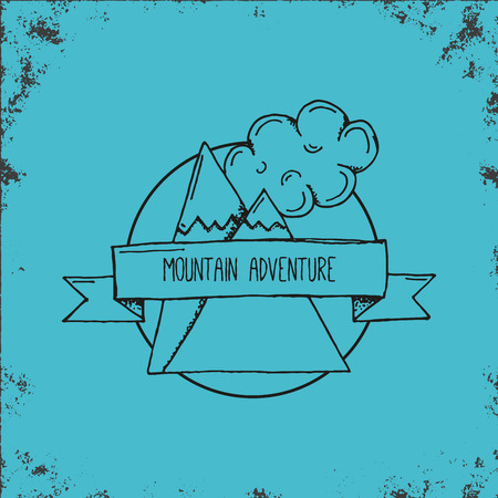 two stroke: Hand Drawn Outline Stroke Mountain Adventure Emblem or Logo - Outdoor adventure landscape symbol with two rocks and clouds with sample title sign - Vector hand drawn illustration Illustration