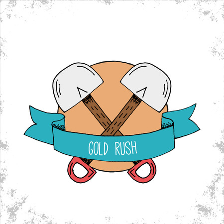 hand shovels: Hand Drawn Hipster Gold Rush Badge with Two Crossed Shovels - Doodle outdoor adventure symbol or logo with blue ribbon with sample title label text - Vector Hand Drawn Doodle Illustration
