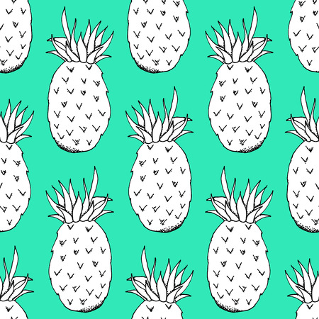 organic background: Hand Drawn Paper Cut Pineapple Pattern on Green Background - Hand Drawn Seamless Fruits Pattern - Infographic or Surface Design Source Element - Vector Illustration
