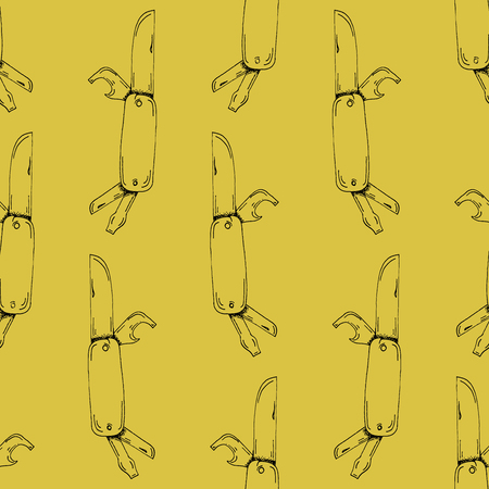 yellow adventure: Hand Drawn Outline Stroke Pocket Knife Pattern on Yellow Background - Camping and Outdoor or Mountain Adventure Doodle Color Pattern - Hand Drawn Vector Illustration Illustration