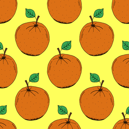 orange pattern: Hand Drawn Orange Pattern on Yellow Background - Hand Drawn Seamless Fruits Pattern - Infographic or Surface Design Source Element - Vector Illustration