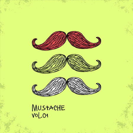 hair mask: Cartoon Style Mustache Illustration - Vol. 01. - Hand Drawn Hipster Fashion Style Doodle Icon - Isolated Graphic Resource - Vector Illustration Illustration