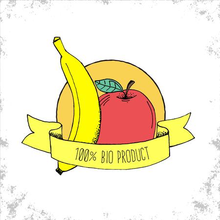 banana caricatura: Tienda de Frutas Bio etiqueta de aislados en fondo blanco - 100% Bio Producto - manzana y pl�tano ilustraci�n dibujados a mano con 100% Bio letras del producto en la cinta curvada - Puede ser utilizado para restaurantes y tienda - Ilustraci�n del vector del Doodle