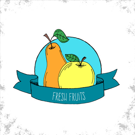 cartoon hands: Fruit Shop Bio Label Isolated on White Background - Fresh Fruits Label - Pear nad Apple Hand Drawn Illustration with Fresh Fruits Lettering on Curved Ribbon - Can be Used for Restaurants and Shop - Vector Doodle Illustration