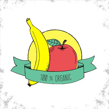 banana caricatura: Tienda de Frutas Bio etiqueta de aislados en fondo blanco - 100% etiqueta org�nica - manzana y pl�tano ilustraci�n dibujados a mano con 100% T�tulo Org�nica de la cinta curvada - Puede ser utilizado para restaurantes y tienda - Ilustraci�n del vector del Doodle