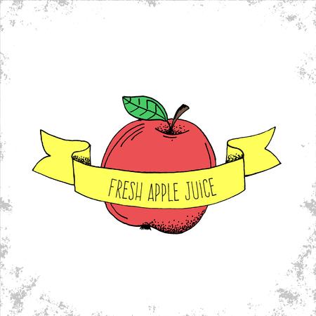 manzana agua: Dibujado mano fresca del zumo de manzana etiqueta - Fruta Bio Shop engomada o plantilla Logo - dibujado a mano ilustraci�n de Apple bajo la cinta curvada con letras - Doodle ilustraci�n vectorial Vectores