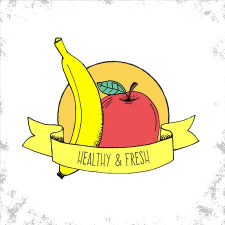 platano caricatura: Tienda de Frutas Bio etiqueta de aislados en fondo blanco - sana y Etiqueta fresca - manzana y pl�tano ilustraci�n dibujados a mano con sana y fresca en el t�tulo de la cinta curvada - Puede ser utilizado para restaurantes y tienda - Ilustraci�n del vector del Doodle