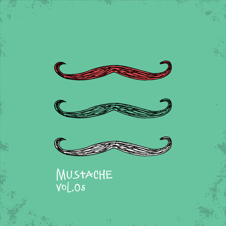hair mask: Cartoon Style Mustache Illustration - Vol. 05. - Hand Drawn Hipster Fashion Style Doodle Icon - Isolated Graphic Resource - Vector Illustration