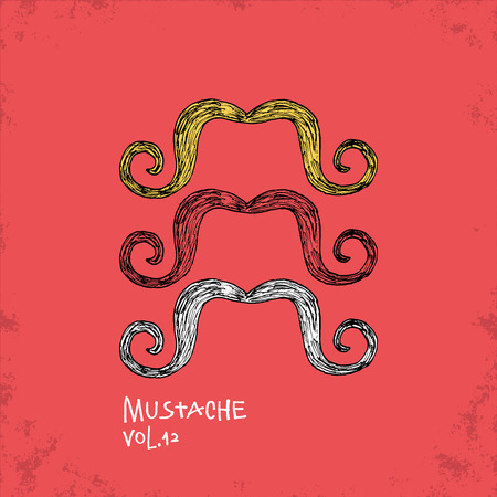 hair mask: Cartoon Style Mustache Illustration - Vol. 12. - Hand Drawn Hipster Fashion Style Doodle Icon - Isolated Graphic Resource - Vector Illustration