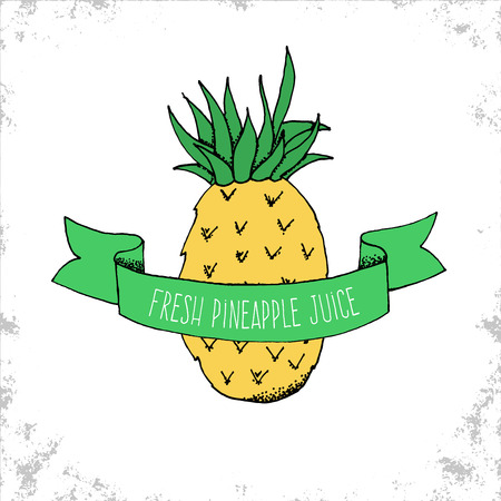 pineapple juice: Hand Drawn Fresh Pineapple Juice Label - Fruit Bio Shop Sticker or Logo Template - Hand Drawn Pineapple Illustration under Curved Ribbon with lettering - Vector Doodle Illustration Illustration
