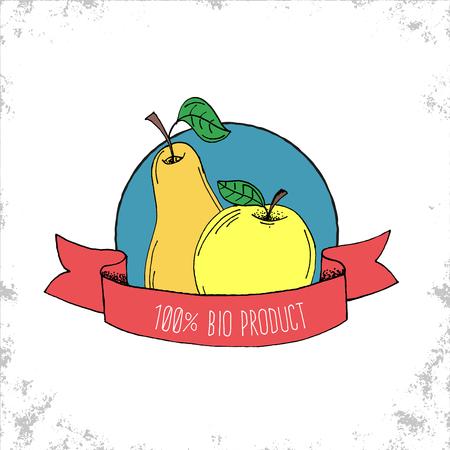 manzana verde: Tienda de Frutas Bio etiqueta de aislados en fondo blanco - 100% Etiqueta Bio Producto - Pera de Apple nad ilustraci�n dibujados a mano con 100% Bio letras del producto en la cinta curvada - Puede ser utilizado para restaurantes y tienda - Ilustraci�n del vector del Doodle