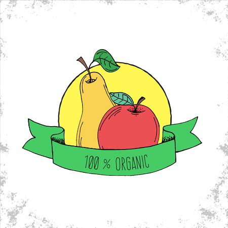 manzana verde: Tienda de Frutas Bio etiqueta de aislados en fondo blanco - 100% etiqueta org�nica - Pera de Apple nad ilustraci�n dibujados a mano con 100% T�tulo Org�nica de la cinta curvada - Puede ser utilizado para restaurantes y tienda - Ilustraci�n del vector del Doodle