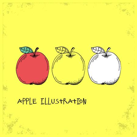 manzana verde: Estilo de dibujos animados de Apple Ilustraci�n - Detallado a mano mano Drawn Doodle coloreado Bosquejo - Gr�fico e Infograf�a y Recursos Alimentarios de la colecci�n de fruta sana - ilustraci�n vectorial