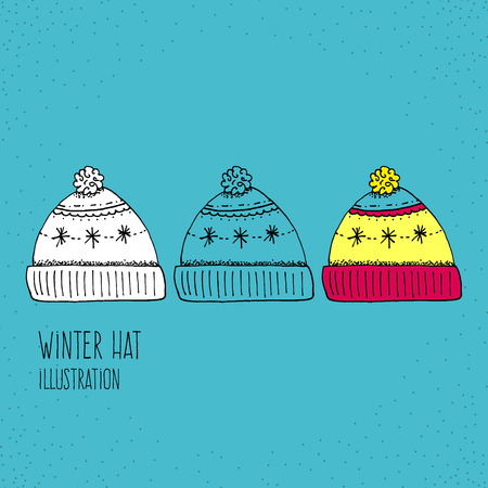winter hat: Cartoon Style Winter Hat Hand Drawn Illustration Icon - Christmas and Holiday Graphic Resource