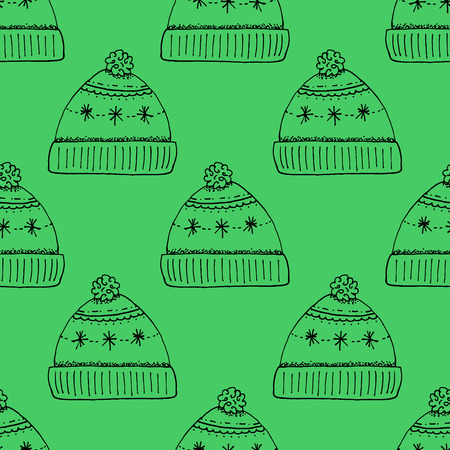 cartoon hat: Cartoon Style Hand Drawn Winter Hat Seamless Pattern - Doodle Outline Stroke Illustrations on Green Background - Christmas and Holidays - Illustration Graphic Resource