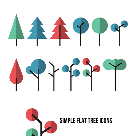 environmental issues: Set of simple flat tree icons isolated on a white background. Useful for environmental issues or natural scenery illustration. Fashion style illustration.