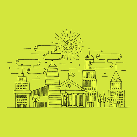illustrated: Hand illustrated outline stroke city landscape. City scenery with skyscrapers, trees and the sky full of clouds. Modern urban illustration isolated on white background.