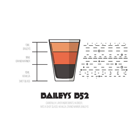 baileys: Baileys B52 - Thin Flat Line Style Cocktail Recipe. Simple instructions on how to prepare the popular drink. Suitable for wall of your bar or on the web.