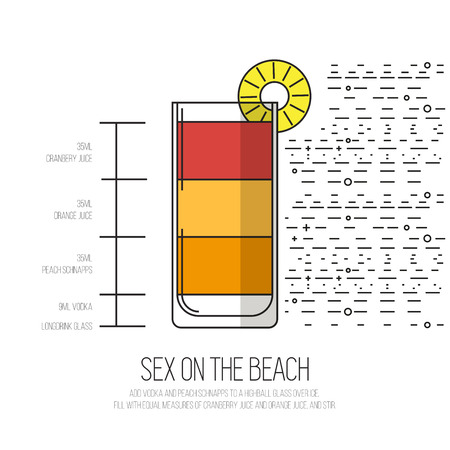Sex On The Beach Thin Flat Line Style Cocktail Recipe Simple
